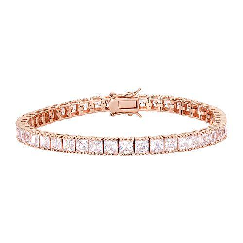 18k Rose Gold Over Silver Cubic Zirconia Tennis Bracelet