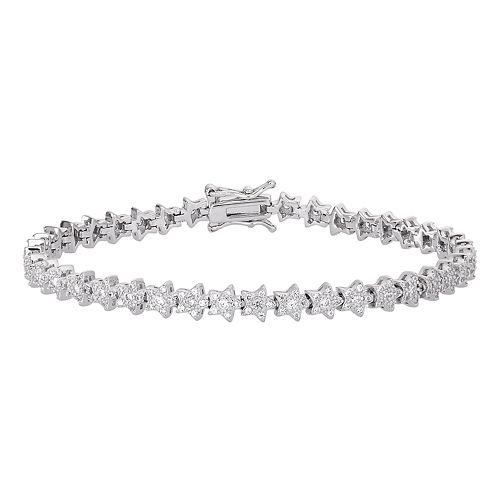 Sterling Silver Cubic Zirconia Star Link Tennis Bracelet