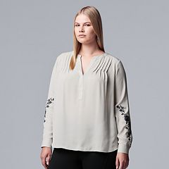Plus Size Simply Vera Vera Wang Pintuck Top