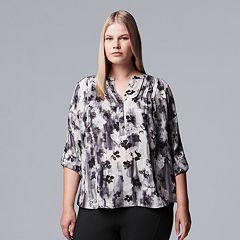 Plus Size Simply Vera Vera Wang Pintuck Top