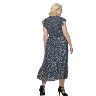 Plus Size POPSUGAR Ruffle Smocked Midi Dress