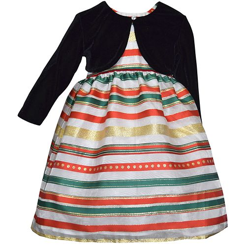 Baby Girl Blueberi Boulevard Striped Taffeta Dress & Velvet Bolero Set