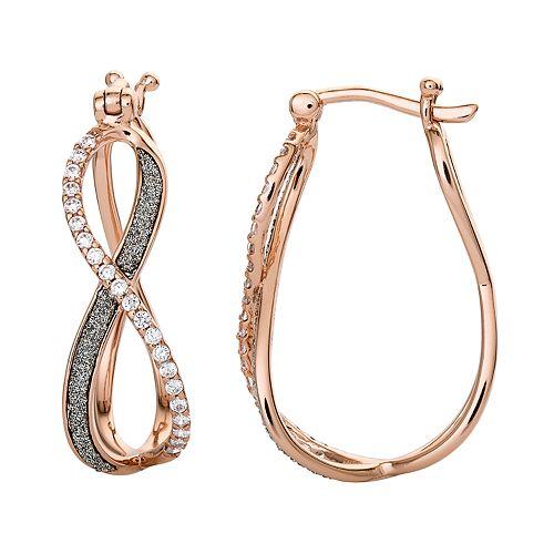18k Rose Gold Over Silver Cubic Zirconia Infinity Hoop Earrings