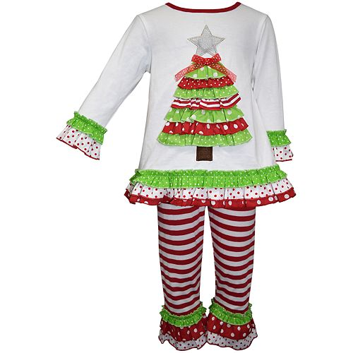 Baby Girl Blueberi Boulevard Christmas Tree Tunic & Striped Leggings Set
