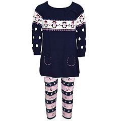 Baby Girl Blueberi Boulevard Penguin Sweater Tunic & Leggings Set