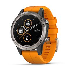 Garmin fenix 5 Plus Smartwatch  (Sapphire Titanium with Solar Flare Orange Band)