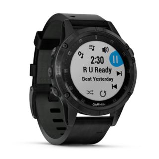 Garmin fenix 5 Plus Smartwatch  (Sapphire Black with Black Leather Band)