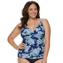 Plus Size Croft & Barrow® Ruched D-Cup Tankini Top