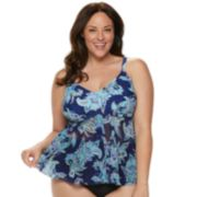 Plus Size Croft & Barrow® Flyaway Mesh Tankini Top