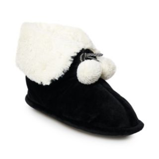 Women's Cuddl Duds Velour Snuggle Up Bootie Slippers
