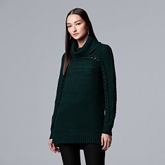 Women's Simply Vera Vera Wang Braided Cable-Knit Cowlneck Sweater
