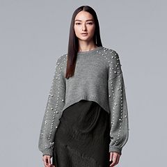 Women's Simply Vera Vera Wang Simulated-Pearl Crop Sweater