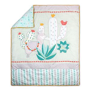 Baby The Peanut Shell Llama & Cactus Reversible Quilt, Fitted Crib Sheet & Dust Ruffle Bedding Set