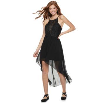 Juniors' Speechless Lace Chiffon High-Low Dress