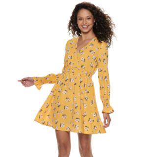 Juniors' Almost Famous Long Sleeve Peasant Dress