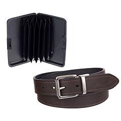 Men's Columbia Reversible Belt & RFID-Blocking Security Wallet Set