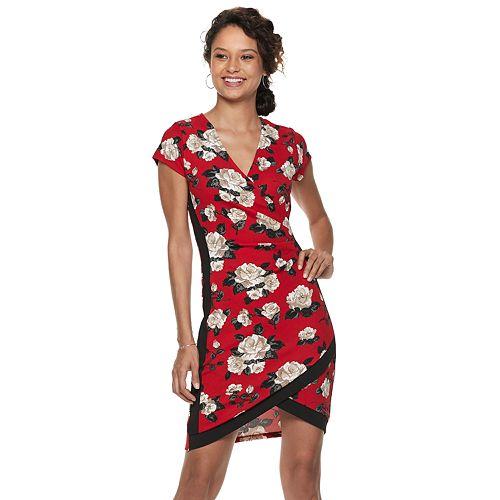 Juniors' Almost Famous Floral Faux-Wrap Dress