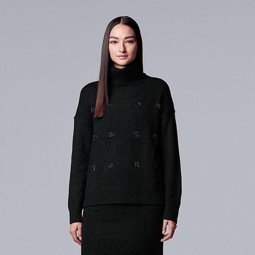 Women's Simply Vera Vera Wang Embellished Turtleneck Sweater