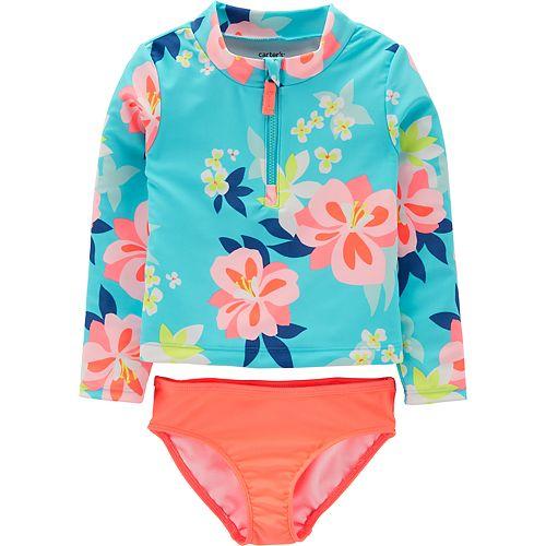 Baby Girl Carter's Floral Rashguard & Swim Bottoms Set