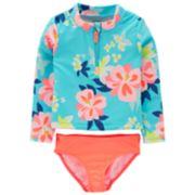 Toddler Girl Carter's Floral Rash Guard & Swim Bottoms Set