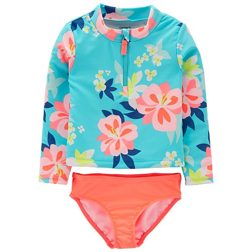 Toddler Girl Carter's Floral Rash Guard & Swim Bottoms Set