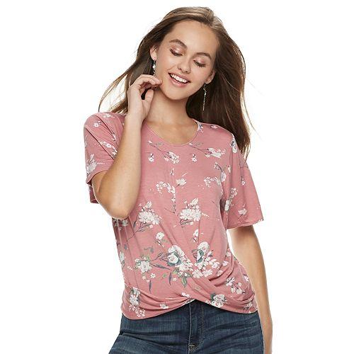 Juniors' American Rag Floral Twist-Front Top