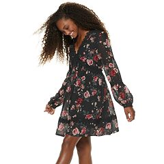 Juniors' American Rag Lace Trim Long Sleeve Dress