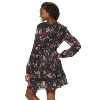 Juniors' American Rag Lace Trim Long Sleeve Dress