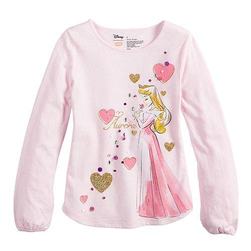 ecc829ca Disney's Sleeping Beauty Aurora Girls 4-10 Glittery Graphic Tee by ...