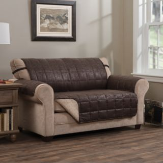 Jeffrey Home Brentwood Faux Leather Loveseat Furniture Cover Slipcover