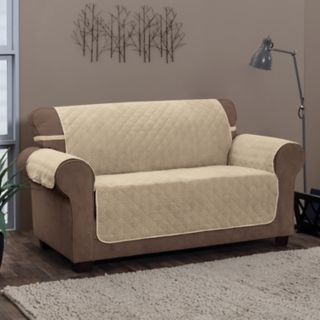 Jeffrey Home Chevron Solid Loveseat Furniture Cover Slipcover