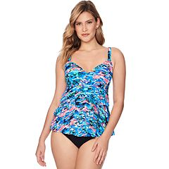 Women's Croft & Barrow® Tummy Slimmer Tiered One-Piece Fauxkini