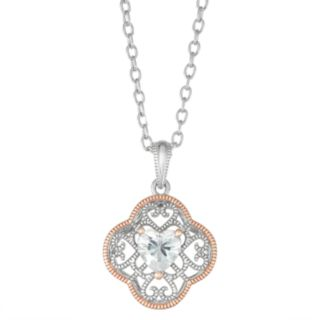 Lily & Lace 14k Rose Gold Heart Cubic Zirconia Open-Work Pendant Necklace