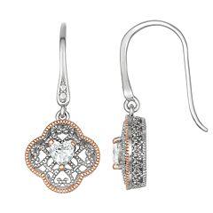 Lily & Lace Open-Work Cubic Zirconia Heart Drop Earrings