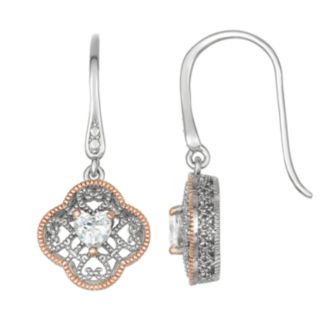 Lily & Lace Open-Work Cubic Zirconia Heart Drop Earrings