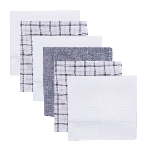 Dockers 6 Piece Pack Handkerchiefs Set Solid Plaid White Gray NEW Boxed
