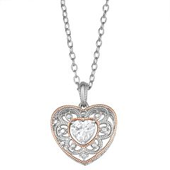 Lily & Lace Two Tone Cubic Zirconia Heart Pendant Necklace