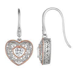 Lily & Lace Two Tone Cubic Zirconia Heart Drop Earrings