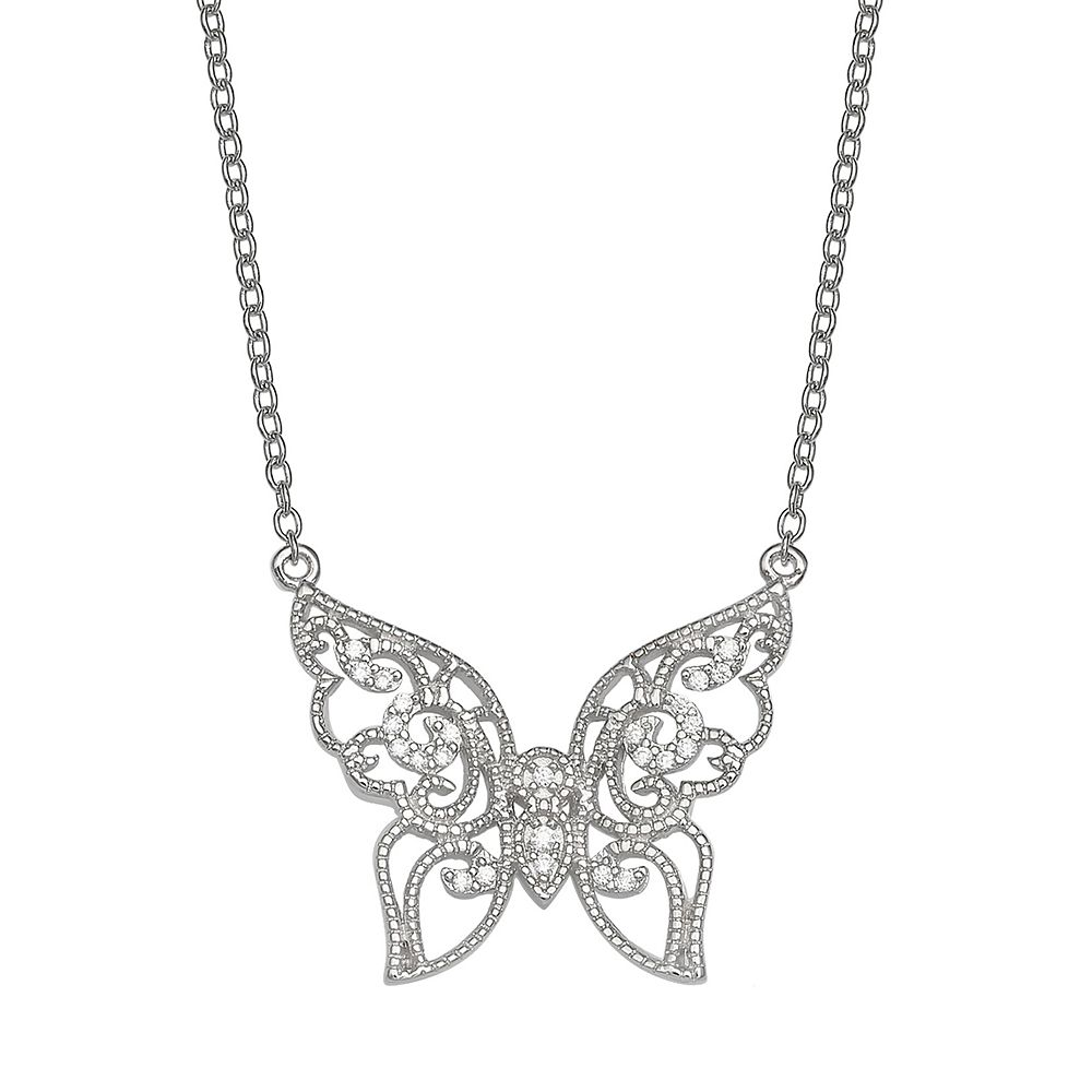 PRIMROSE Sterling Silver Cubic Zirconia Filigree Butterfly Necklace