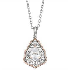 Lily & Lace Open Work Pear-Cut Cubic Zirconia Pendant Necklace