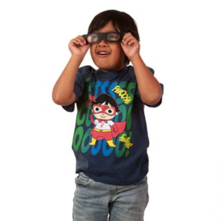 "Boys 4-7 Ryan's World ""Let's Go!"" 3-D Superhero Graphic Tee & Goggles Set"