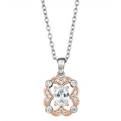 Lily & Lace Cubic Zirconia Open-Work Two Tone Pendant Necklace