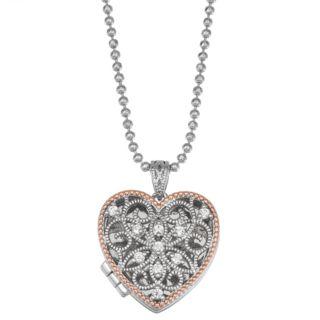 Lily & Lace Open-Work Cubic Zirconia Heart Locket