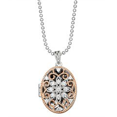 Lily & Lace Open-Work Cubic Zirconia Oval Locket