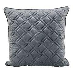 Diamond Quilted & Velvet Throw Pillow