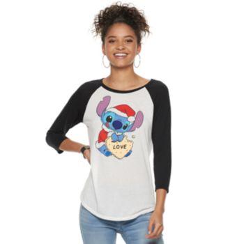 Disney's Lilo & Stitch Juniors' Christmas Cookie Raglan Tee