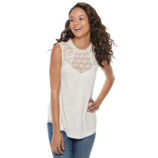 Juniors' American Rag Floral Lace Tank