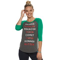 Juniors' Reindeer Names Christmas Raglan Tee