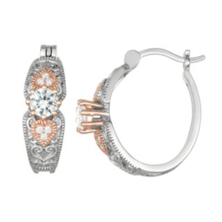 Lily & Lace Two-Tone Cubic Zirconia Hoop Earrings