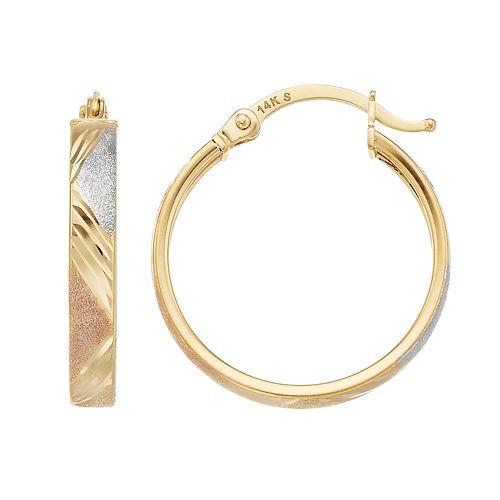 Forever 14K Tri Tone 14k Gold Textured Hoop Earrings